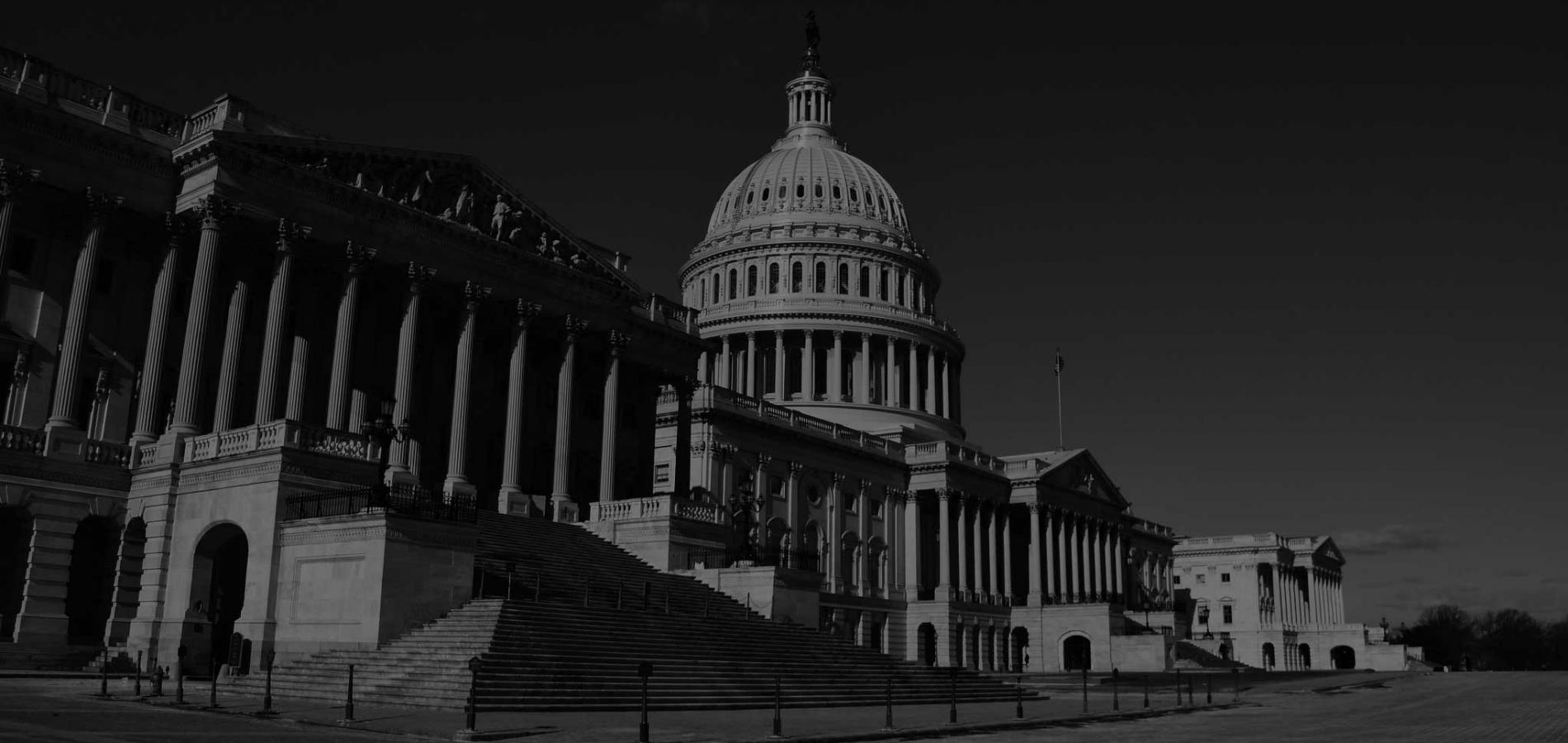 Black and white photo of the U.S. Capitol